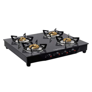 Lifelong Glass Top Gas Stove, 4 Burner Gas Stove, Black