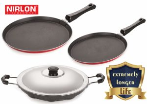 Nirlon Non-Stick Aluminium Cookware Set, 3-Pieces, Red