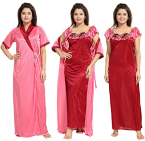 Noty - Women's Contrast Satin Nightwear Nighty with Robe (Pink and Maroon) - at Rs 559