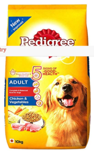 Pedigree Dry Dog Food, Chicken Vegetables for Adult Dogs – 10 kg at Rs 212