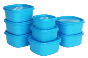 Princeware Plastic Storage Container Set, 8-Pieces, Blue at Rs 135 only