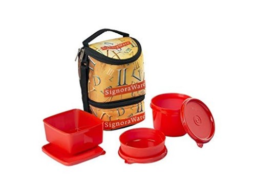 Signoraware Roman Trio Lunch Box with Bag Set, 3-Pieces, Deep Red at rs.362