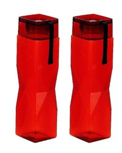 Steelo Carat Tritan Water Bottle, 1 Litre, Set of 2, Red at rs.213
