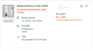Wonderchef Electric Cooker, 500 ML