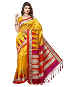 e-VASTRAM Women's Mysore Art Silk Printed Saree at Rs 399