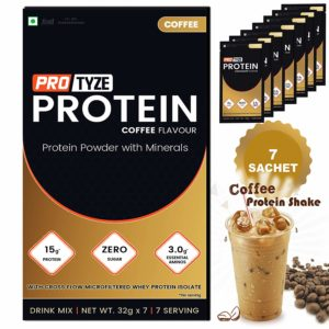 Amazon - Buy Protyze Whey Protein Powder | Health and Nutrition Drink - 225 gm (Coffee) at Rs. 389
