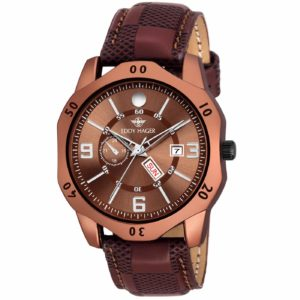 Amazon - Eddy Hager Brown Day & Date Watch for Men at Rs.99