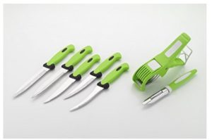 Amiraj Plastic Cutting Tools Set, 7-Pieces (White/Green)