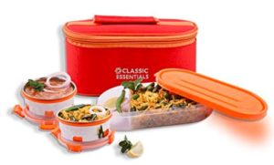 Classic Essentials Stainless Steel Lunch Box Set with Bag, 3-Pieces, Orange