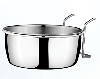 HMSTEELS PET Dog Bowl Stainless Steel Coop Cup with Wire Hange 600 ML (12 cm) at rs.100