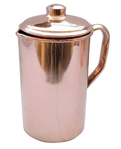 KaBi Aqua Copper Jug with Lid, 2 3 litres, Reddish Brown