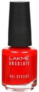 Lakme Absolute Gel Stylist Nail Color, Tomato Tango, 15 ml