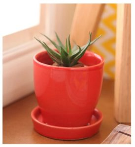 Red Cermaic Glazed Table Top Planter