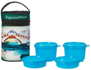 Signoraware Venice Executive Big Lunch Box with Bag Set, 4-Pieces, Blue