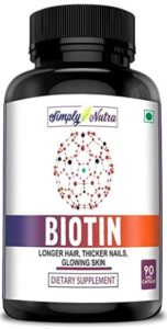 Simply Nutra Biotin 10000mcg, Enhanced with Calcium, Supports Hair Growth, Glowing Skin and Strong Nails - 90 tablets