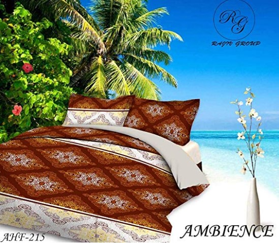 Super India Printed 130 TC Polycotton Double Bedsheet with 2 Pillow Covers - Yellow at rs.246