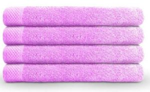 Swiss Republic 440 GSM Cotton Hand Towels with Quick Dry and Double Stitch Line (Rose Pink) -Set of 4