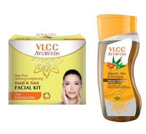VLCC Haldi Tulsi Facial Kit and Ayurveda Shampoo