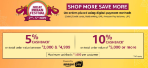 amazon great indian festival amazon pay 10 cashback offer