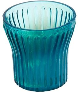 Anasa Decorative Glass Candle Holder (6.99 cm x 6.99 cm x 6.99 cm, Sky Blue)