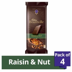 Amazon - Buy Cadbury Bournville Dark Chocolate Bar with Raisin and Nuts, 80g (Pack of 4) at Rs. 237