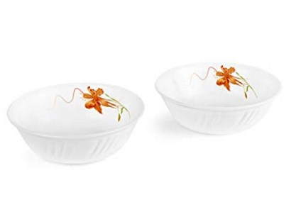 Cello Orange Lily Opalware Snack Bowl Set, 2-Pieces, White