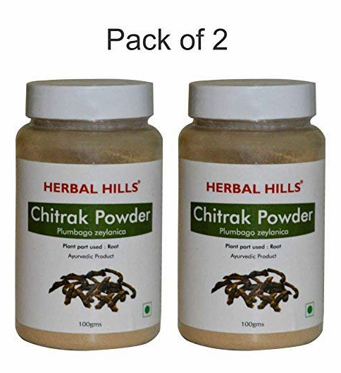 Herbal Hills Chitrak Root Powder - 100 g Each (Pack of 2) Bottle