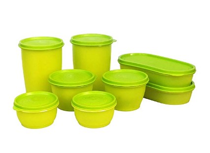 Princeware Modular Plastic Container Set, 8-Pieces, Green