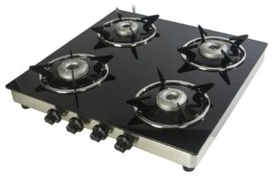 Suryajwala Stainless Steel 4 Burner Manual Gas Stove, Black