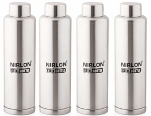Amazon - Buy Nirlon Stainless Steel Water Bottle Set, 1 Litre, 4-Pieces, Silver at Rs 782