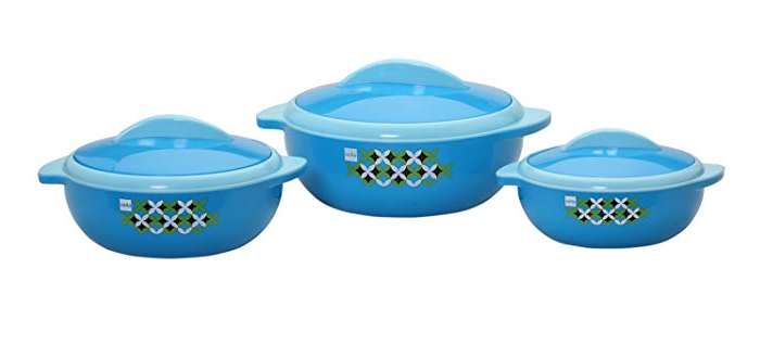 Cello Sizzler Plastic Casserole Gift Set, 3-Pieces, Blue
