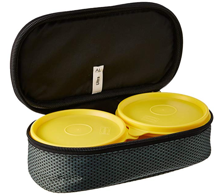 Polyset Magic Seal Ultra Plastic Lunch Box Set with Bag, 2-Pieces, Yellow