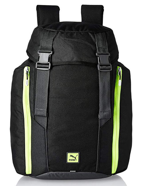 Puma 24 Ltrs Black and Safety Yellow Casual Backpack (7418301)