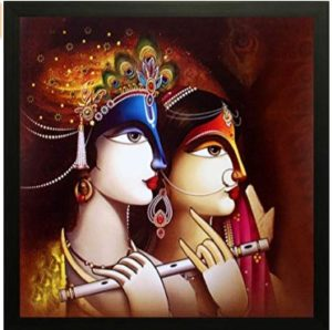 SAF Radha Krishna Exclusive Framed Wall Art Paintings (Synthetic, 12 inch x 12 inch)