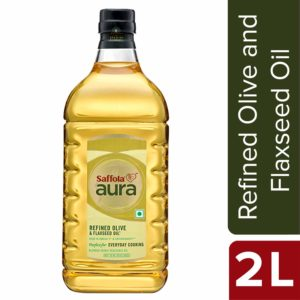 Saffola Aura Refined Olive and Flaxseed Oil, 2L