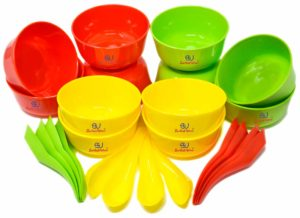 Sarthak Uphaar Plastic Microwave Safe Soup Bowl Set of 24 Pieces (12 Bowl, 12 Spoon)