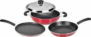Tosaa Super Deluxe Induction Base Non-Stick Kitchen Set with Stainless Steel Lid, 3-Pieces