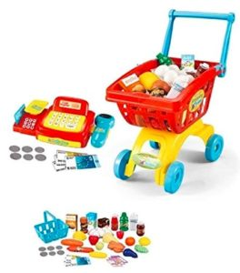 Toys Bhoomi 2 in 1 Supermarket Cashier & Shopping Trolley Role Play Set with Light & Sound