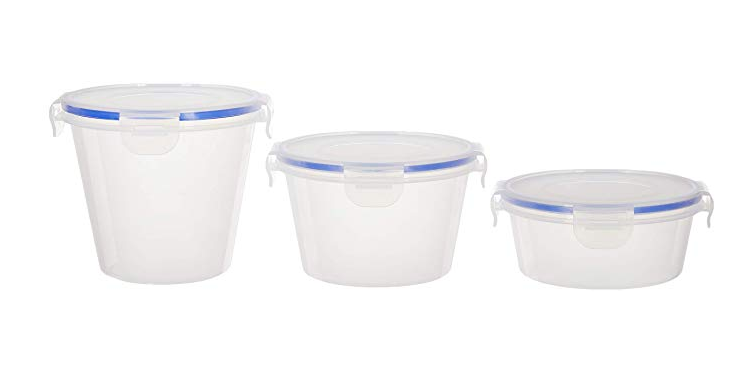 Amazon Brand - Solimo Plastic Kitchen Storage Container Set, 3-Pieces, Blue