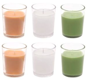 Amazon Brand - Solimo Votive Glass Candles, Pack of 6 (Scented - Jasmine, Lemon Grass & Sandalwood)