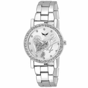 Amazon - Vills Laurrens (VL-7086) Pleasant Silver Diamond Studded Dial Analogue Watch for Women and Girls at Rs.199 Only