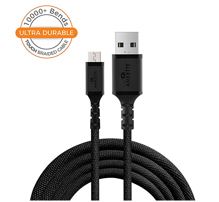 Amkette Tough Pro Micro USB Braided Fast Charge Cable