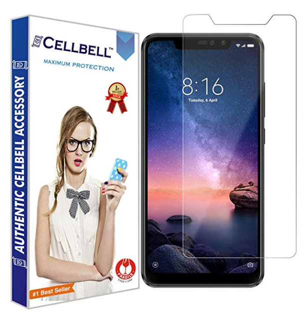 CELLBELL Tempered Glass Screen Protector for Xiaomi Redmi Note 6 Pro