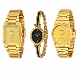Imperial Club Combo Pack of 3 Golden Colour Analog Watches