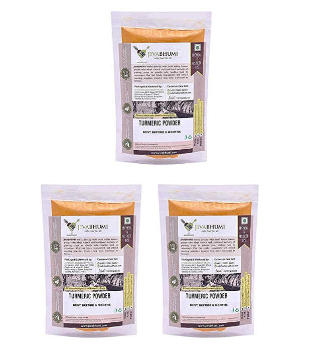 Jivabhumi Certified Organic Turmeric Powder, 450 Gm (Combo of 3)