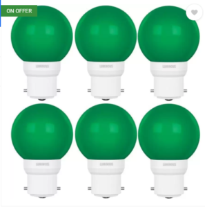 Luminous 0.5 W Round B22 D LED Bulb  (Green, Pack of 6)