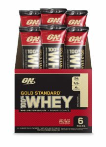 Optimum Nutrition (ON) Gold Standard 100% Whey Protein Powder Drink Travel Pack – Pack of 6 Servings (Vanilla Ice Cream)