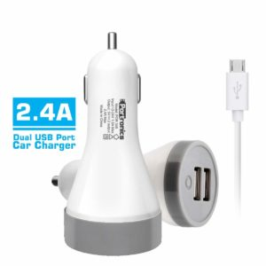 Portronics POR-345 Car Power 2.4A with Dual USB Port (White)