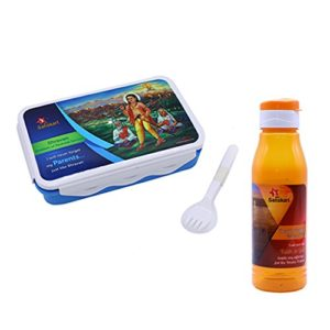 SARANGWARE Spiritual Lunch Box (850ml) with Water Bottle (700ml) for Your Child (Multi Color)