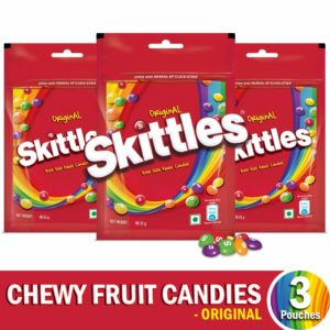Skittles Bite-Size Fruit Candies Pouch, Original Pouch, 204 g with Skittles Pouch, Pack of 3